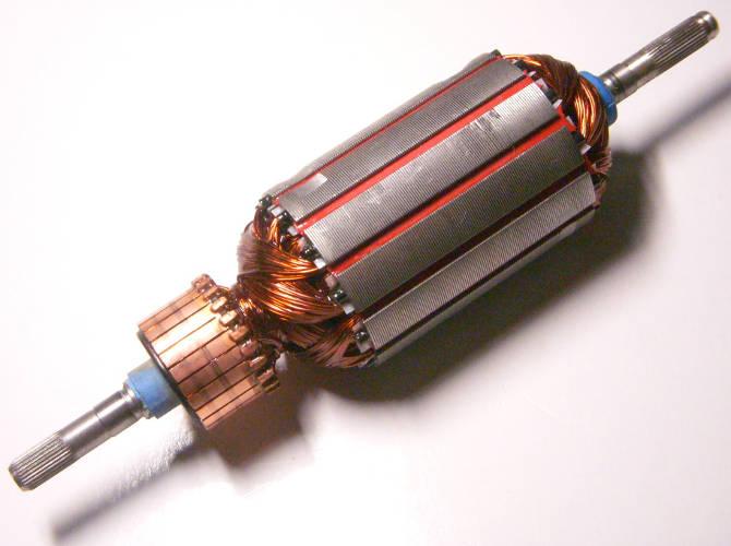 Якорь электрокосы длиной 191 мм, диаметр пакета 46 мм, соединение через мелкие прямые шлицы