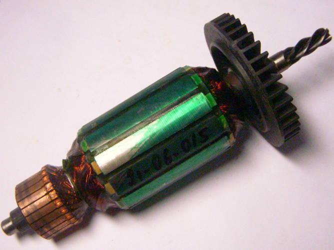Якорь для дрели шуруповерта FERM FPD-810, Einhell 750-810 Вт диаметром 38 мм, длина пакета 50 мм, общая длина 154 мм, между подшипниками 122 мм, 4-х зубый червяк