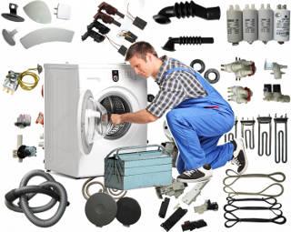 Электродвигатель, конденсатор, пусковое реле, шестерня, редуктор, уплотнительная резина, ножи, ремень привода, шланг, корпус, насадка, переключатель, регулятор, нагревательный элемент, терморегулятор, клапан, шланги, патрубки