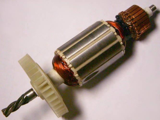 Якорь электродрели DWT, WinTech WID-650 длиной 149 мм, диаметр 35 мм, между подшипниками 115 мм, 4 зуба