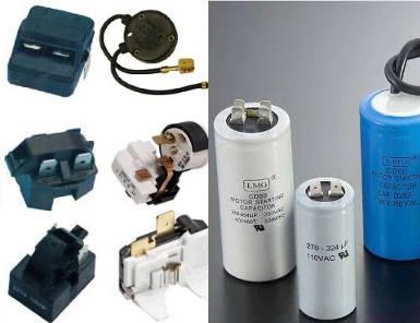Пусковое, тепловое, токовое реле, конденсатор, щетки, кнопка, переключатель, регулятор. Важно знать номинальный ток прибора, параметры контактного соединения