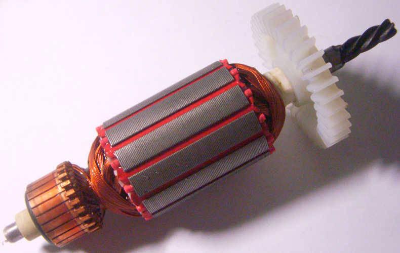 Якорь электродрели диаметром 35 мм, длина 146 мм, между подшипниками 111 мм, 5 зубов влево, есть информация, что такой стоит на электропиле Rebir RZ