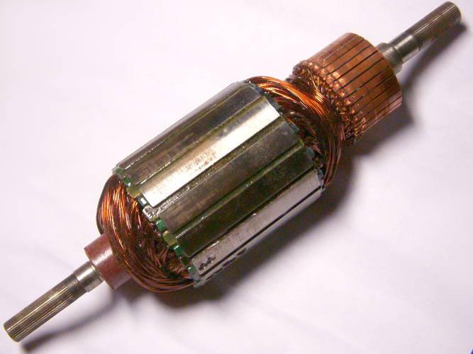 Якорь двигателя электрокосы Soma MS-1255, Протон ЭТ-1750, Ритм рг1400, Уралмаш, Stern GT 20, Vorskla ПМЗ 257, мелкие шлицы-шлицы, диаметр  52 мм, длина 205 мм, коллектор 35 мм