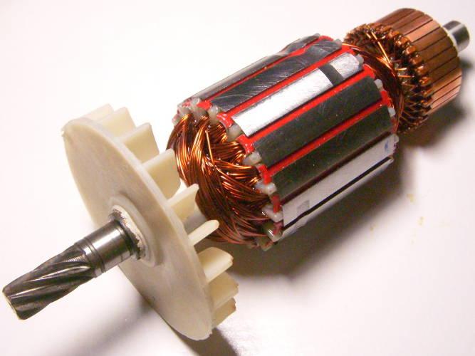 Якорь двигателя дисковой переворотной электропилы Ворскла, ТЕМП, Арсенал, Wintech, Craft-Tec, Rebir, Мастер-Данила
