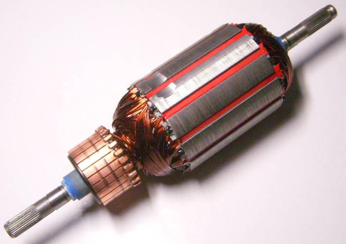 Якорь электродвигателя садового триммера длиной 181 мм, диамтер пакета 46 мм