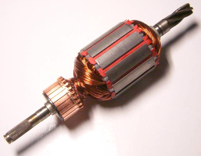 Якорь двигателя 163 мм для садовой электрокосы на пять косых зубов диаметром и длиной пакета 41 и 40 мм соответственно