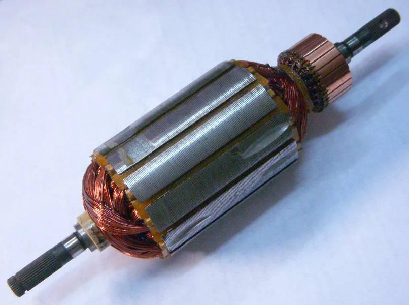 Якорь двигателя электрокосы 49 мм под шлицевое соединение с обеих сторон, общая длина якоря 185 мм